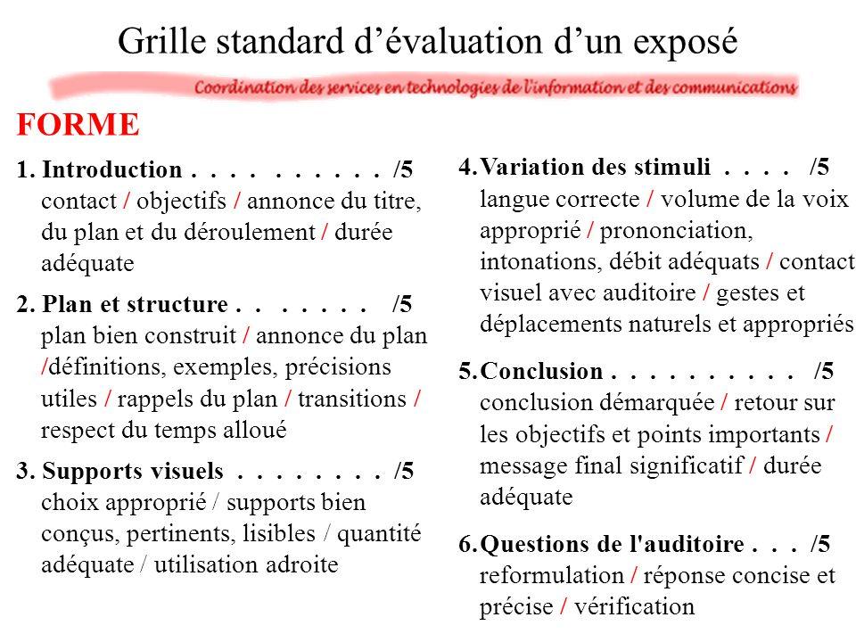 Grille standard d'évaluation d'un exposé