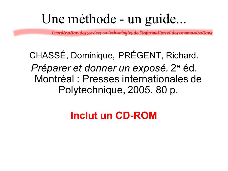CHASSÉ, Dominique, PRÉGENT, Richard.