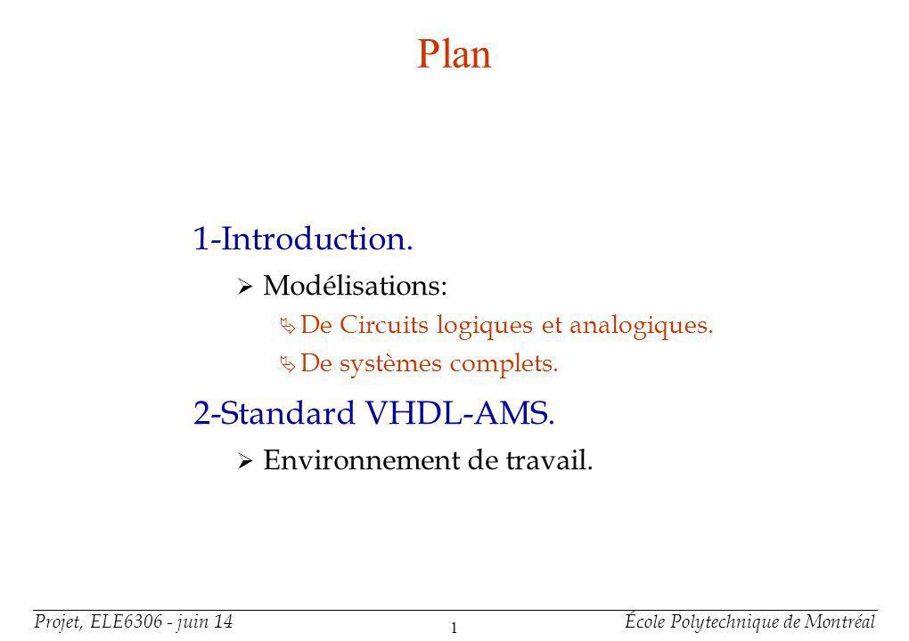 Plan (suite) 3-Organisation d'un Modele VHDL-AMS.