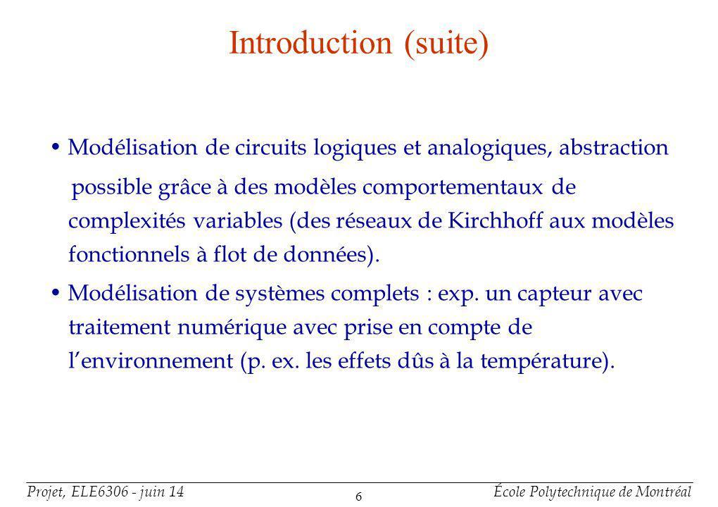 Introduction (suite) • VHDL-AMS offre est un support de base pour la Modélisation de systèmes non électriques (p. ex. capteurs, actionneurs).