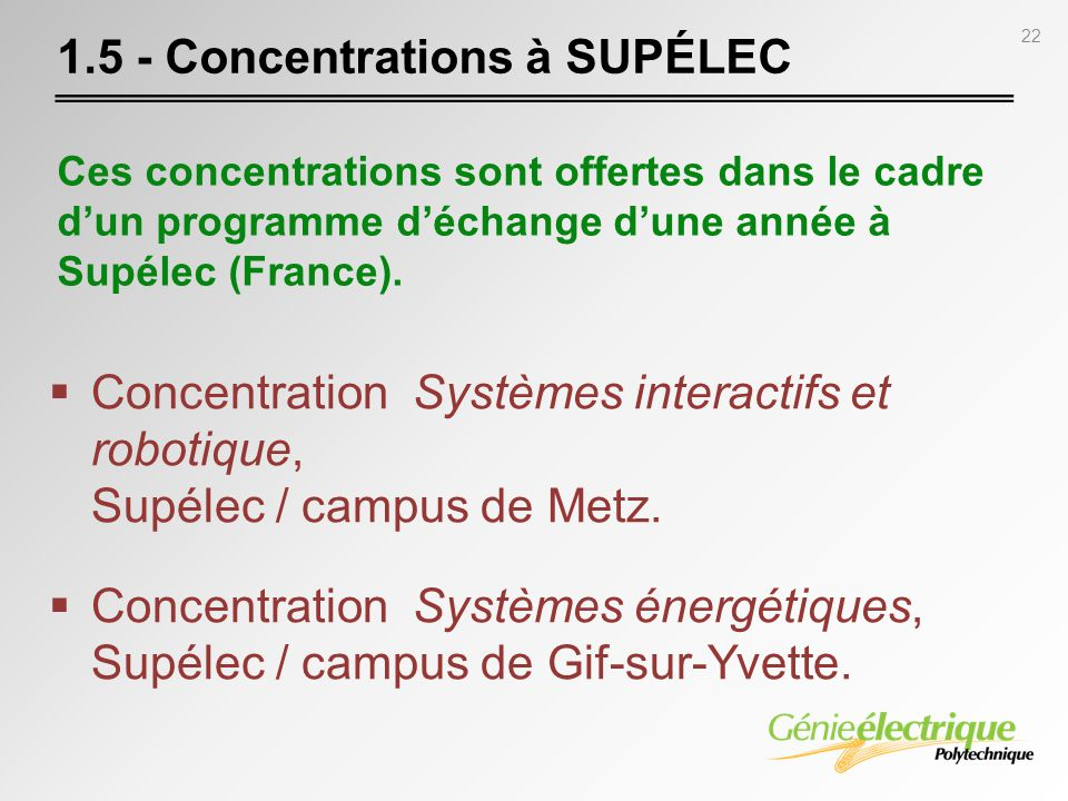 1.5 - Concentrations à SUPÉLEC