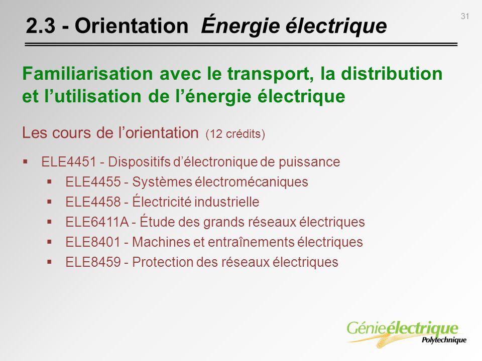 2.3 - Orientation Énergie électrique