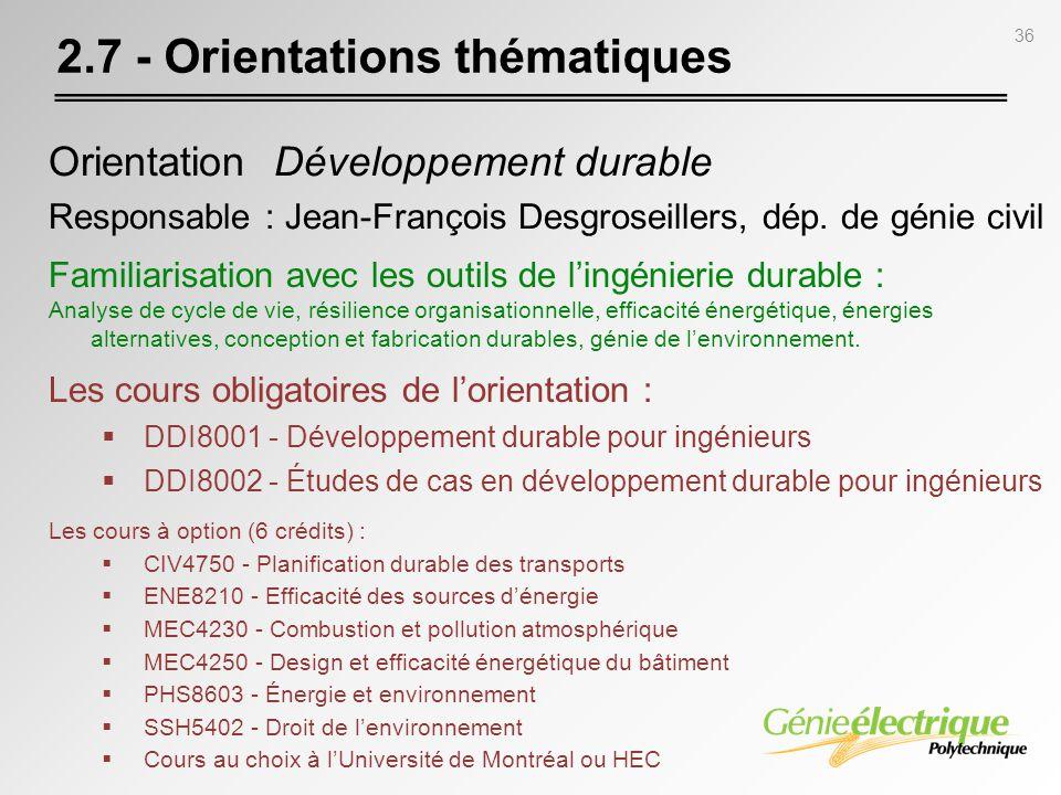 2.7 - Orientations thématiques