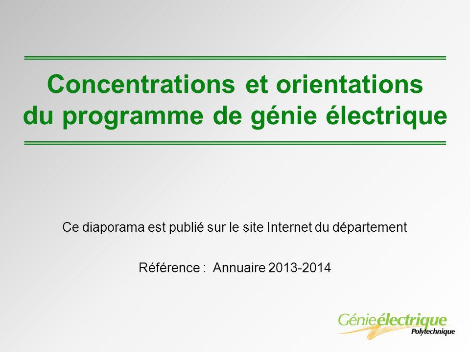 Concentrations et orientations du programme de génie électrique