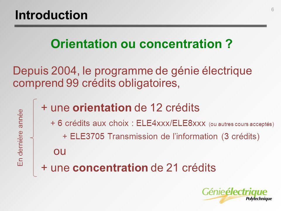 Orientation ou concentration