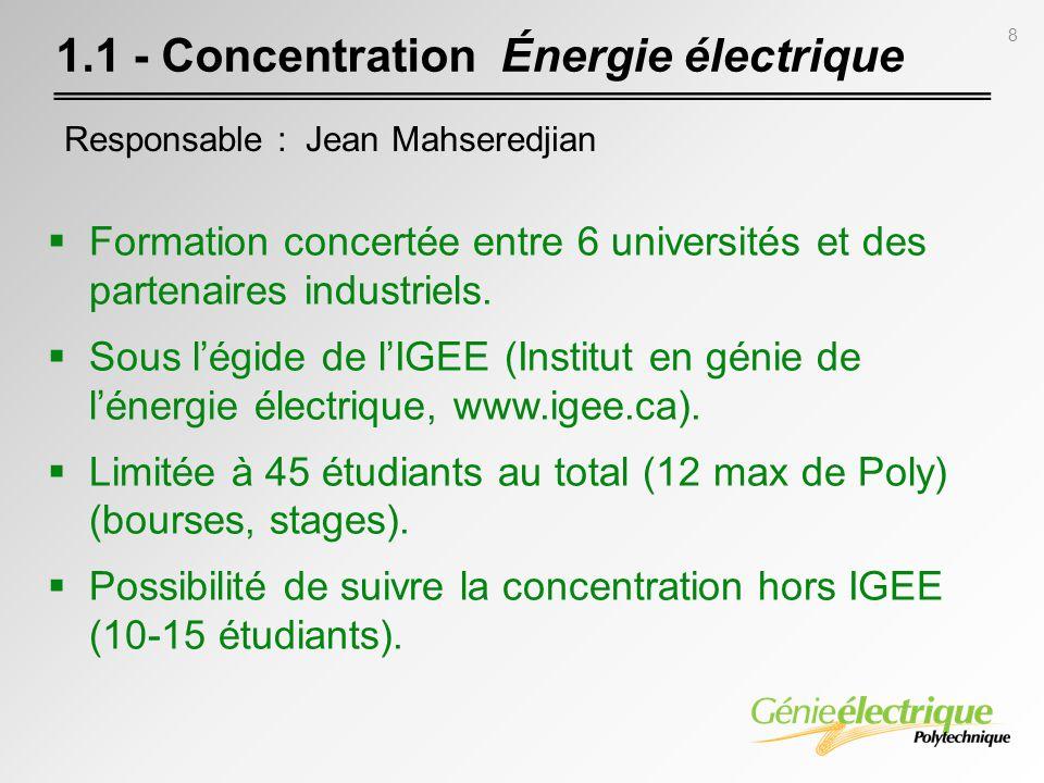 1.1 - Concentration Énergie électrique