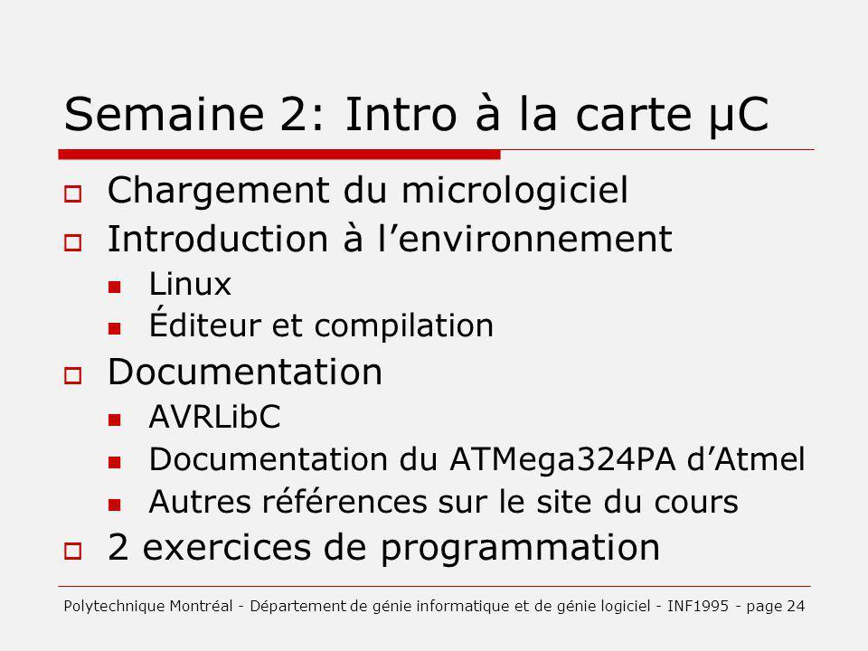 Semaine 2: Intro à la carte µC