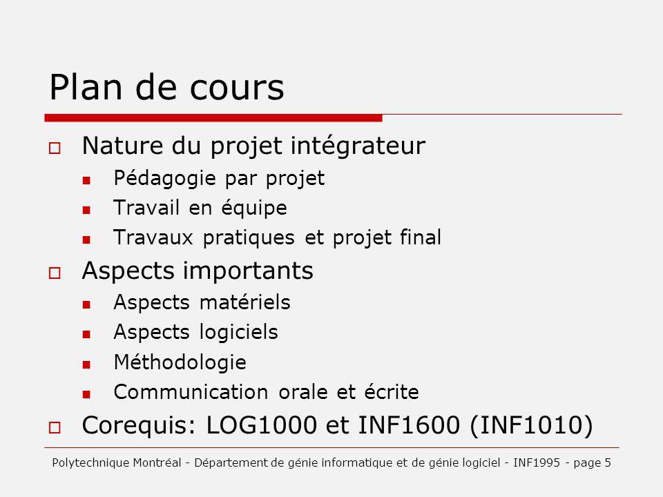 Plan de cours Nature du projet intégrateur Aspects importants