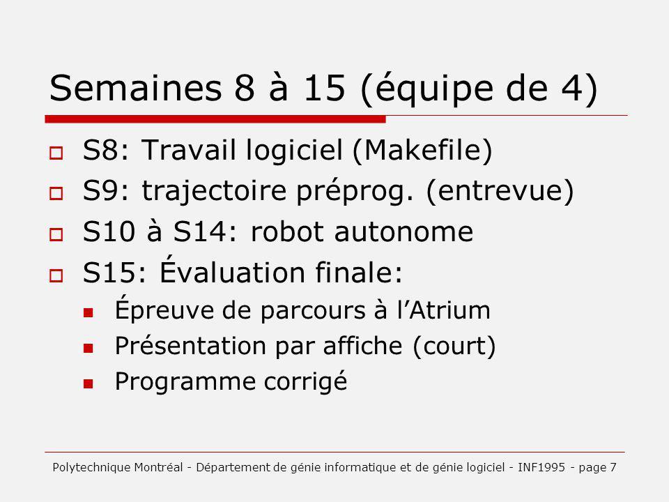 Semaines 8 à 15 (équipe de 4) S8: Travail logiciel (Makefile)