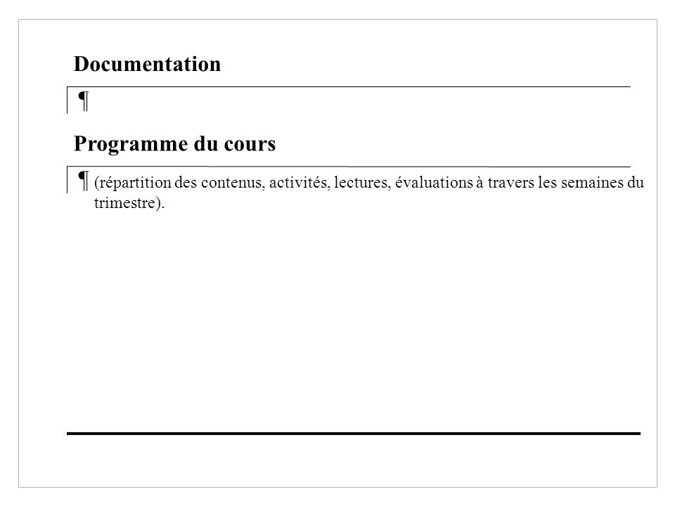 Documentation ¶ Programme du cours ¶