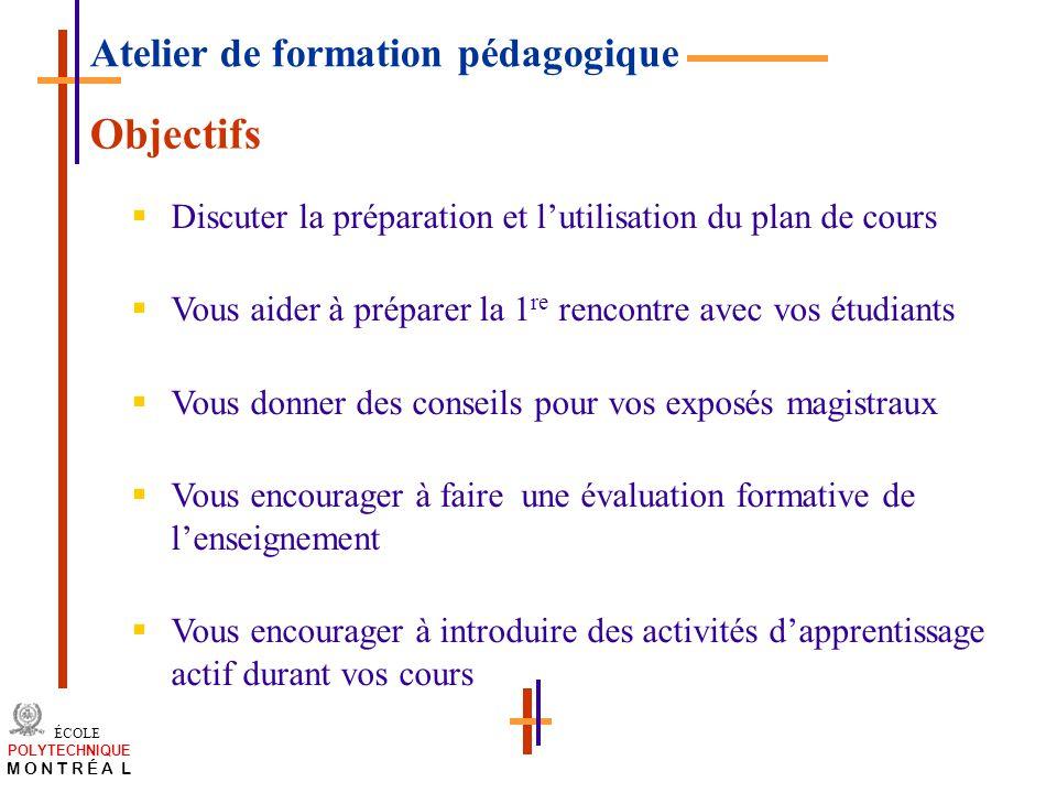 Objectifs Atelier de formation pédagogique