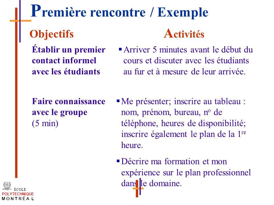 Première rencontre / Exemple