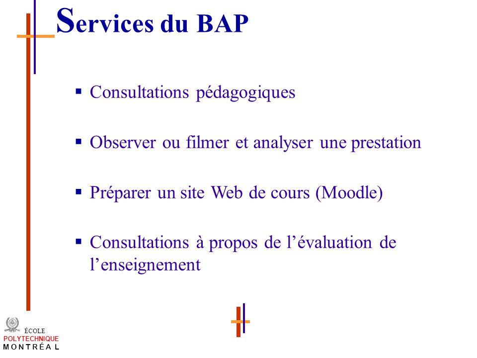 Services du BAP Consultations pédagogiques