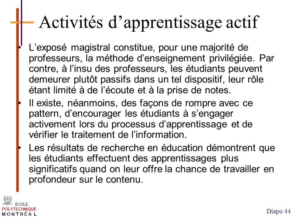 Activités d'apprentissage actif
