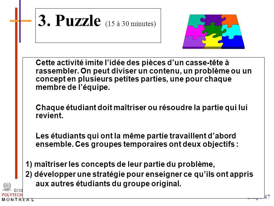 3. Puzzle (15 à 30 minutes)