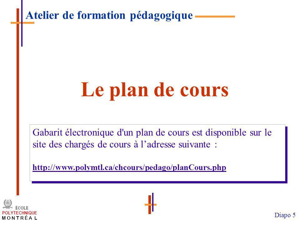 Le plan de cours Atelier de formation pédagogique