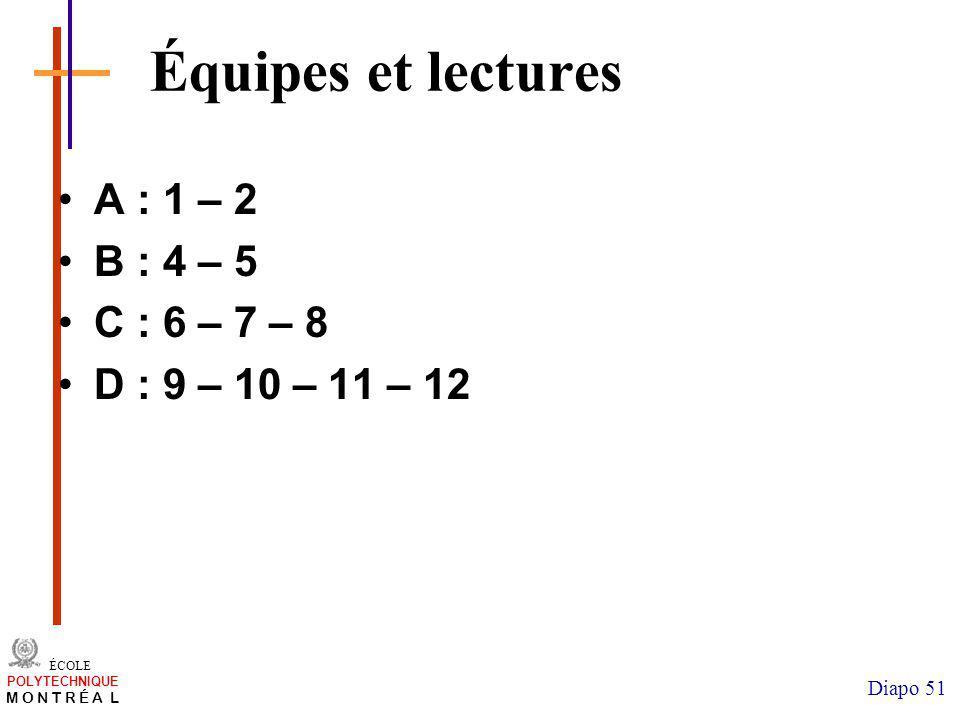 Équipes et lectures A : 1 – 2 B : 4 – 5 C : 6 – 7 – 8