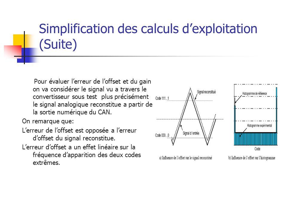 Simplification des calculs d'exploitation (Suite)