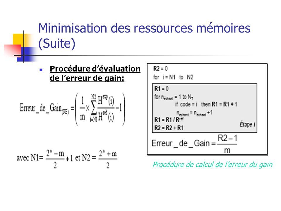 Minimisation des ressources mémoires (Suite)