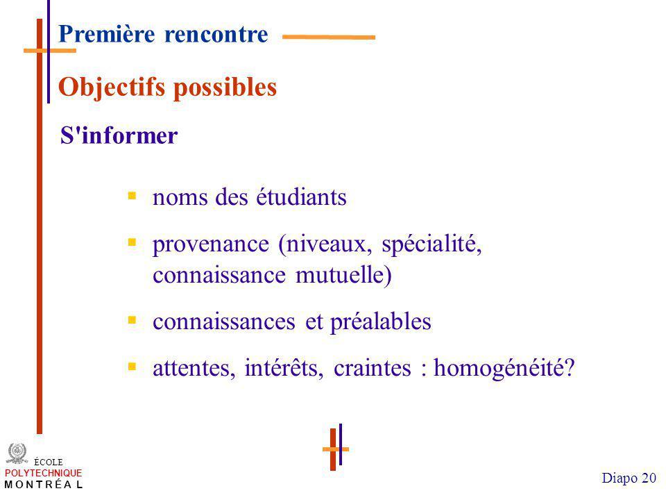 Objectifs possibles Première rencontre S informer noms des étudiants