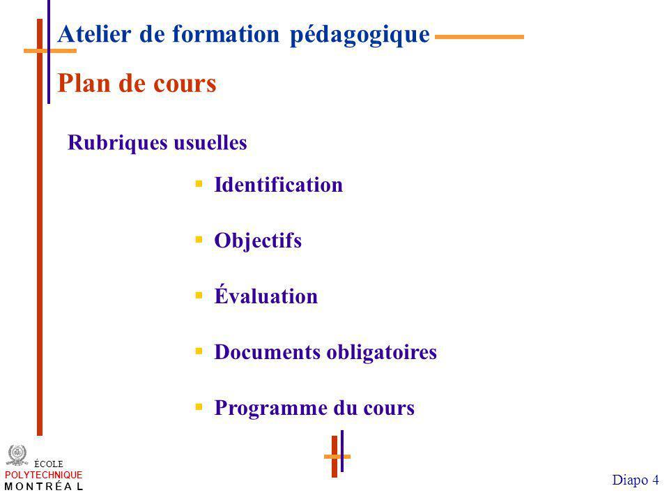 Plan de cours Atelier de formation pédagogique Rubriques usuelles