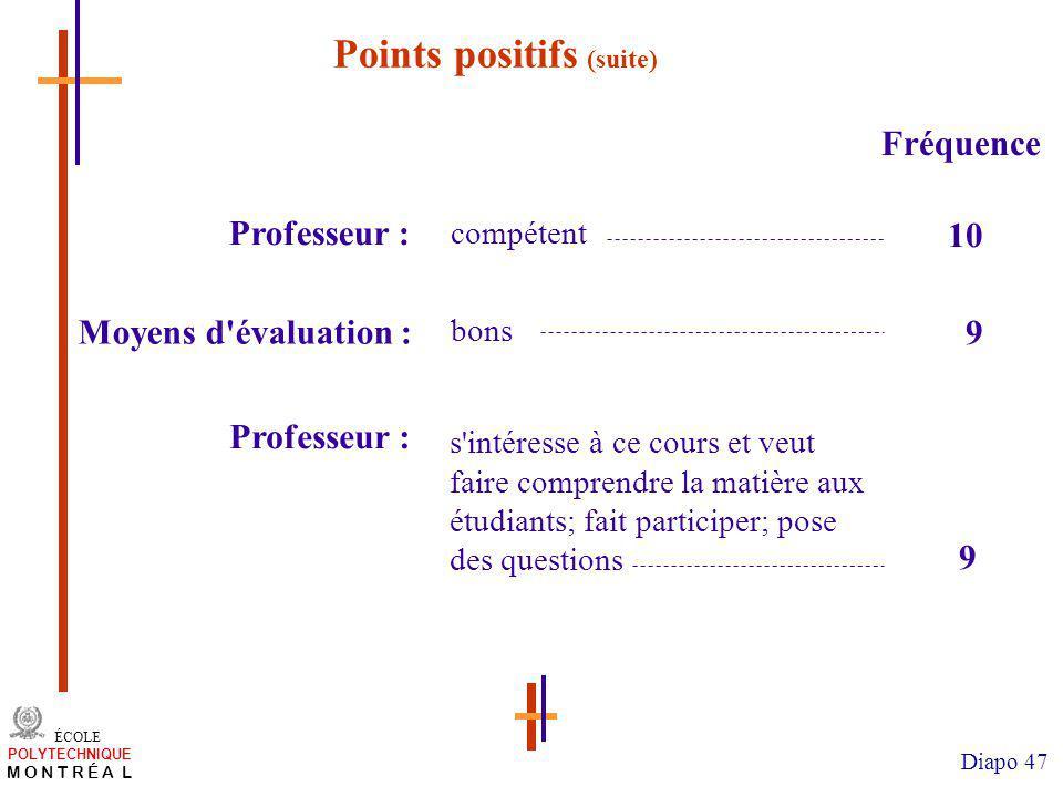 Points positifs (suite)