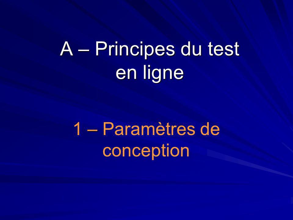 A – Principes du test en ligne