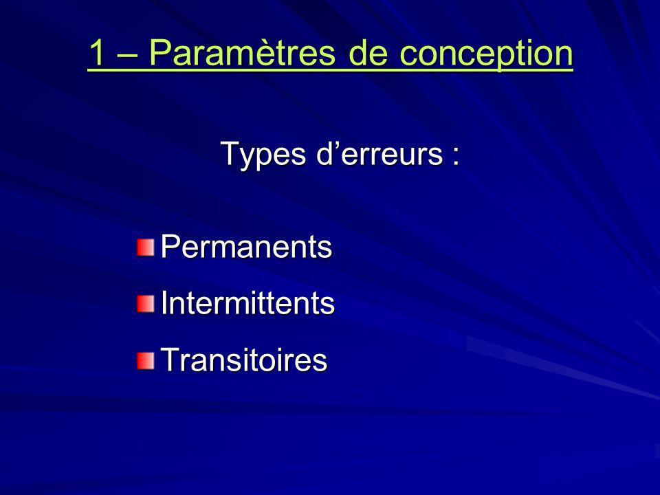 1 – Paramètres de conception