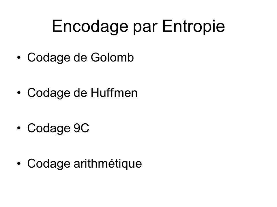 Encodage par Entropie Codage de Golomb Codage de Huffmen Codage 9C