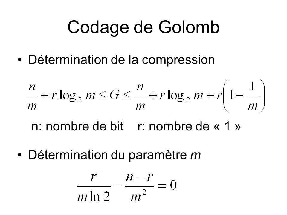 Codage de Golomb Détermination de la compression
