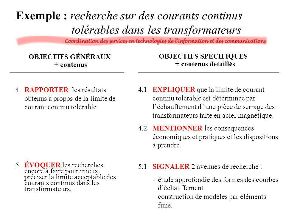 Exemple : recherche sur des courants continus tolérables dans les transformateurs