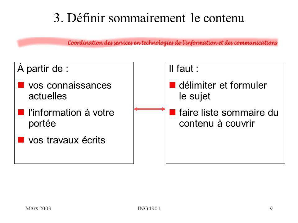 3. Définir sommairement le contenu