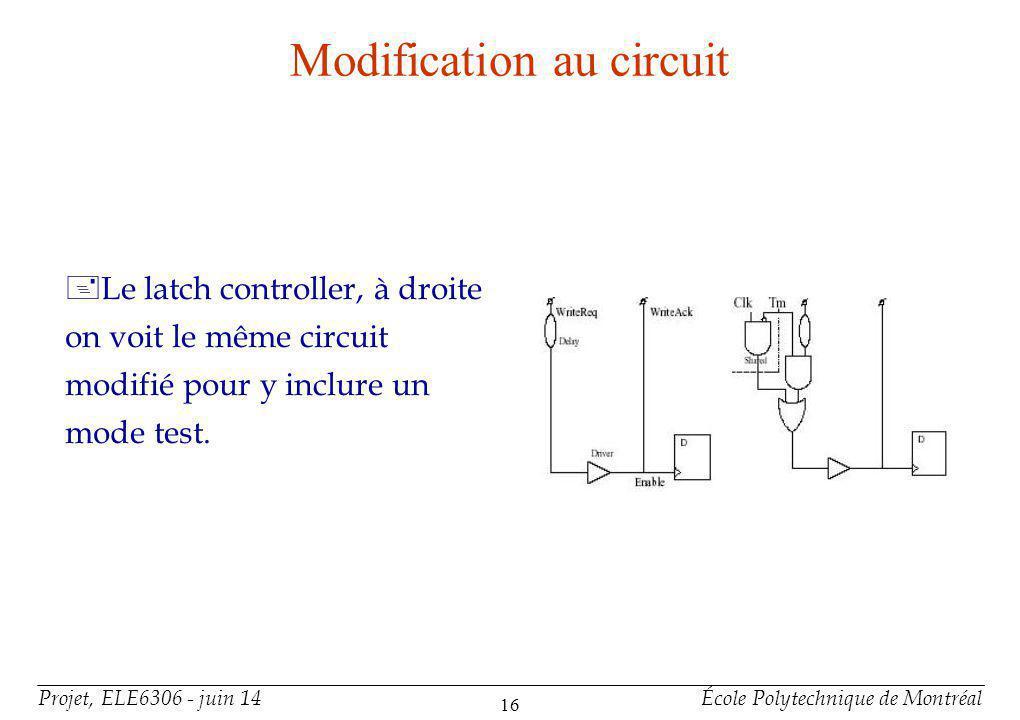 Modification au circuits