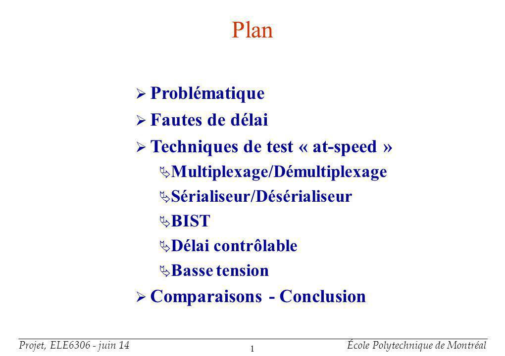 Problématique Plusieurs problèmes dans les circuits intégrés peuvent seulement être détectés en testant à la vitesse nominale.