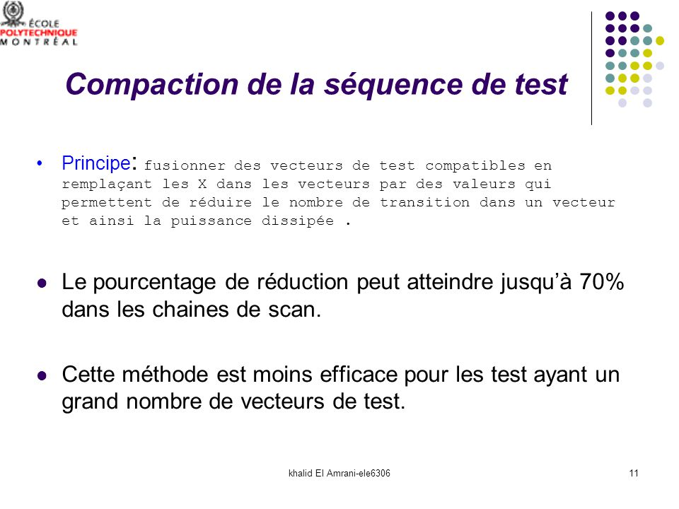 Compaction de la séquence de test