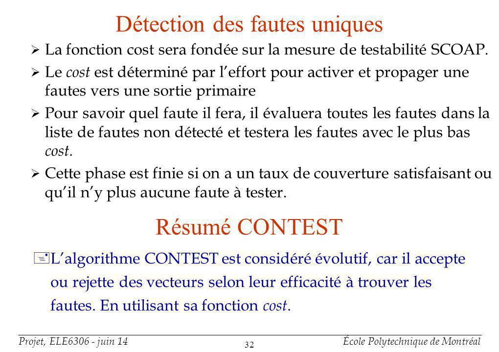 Algorithme GENETIC Basé sur l'algorithme CONTEST pour ces 3 phases.