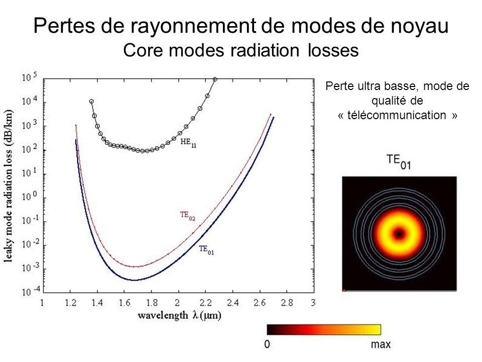 Pertes de rayonnement de modes de noyau Core modes radiation losses