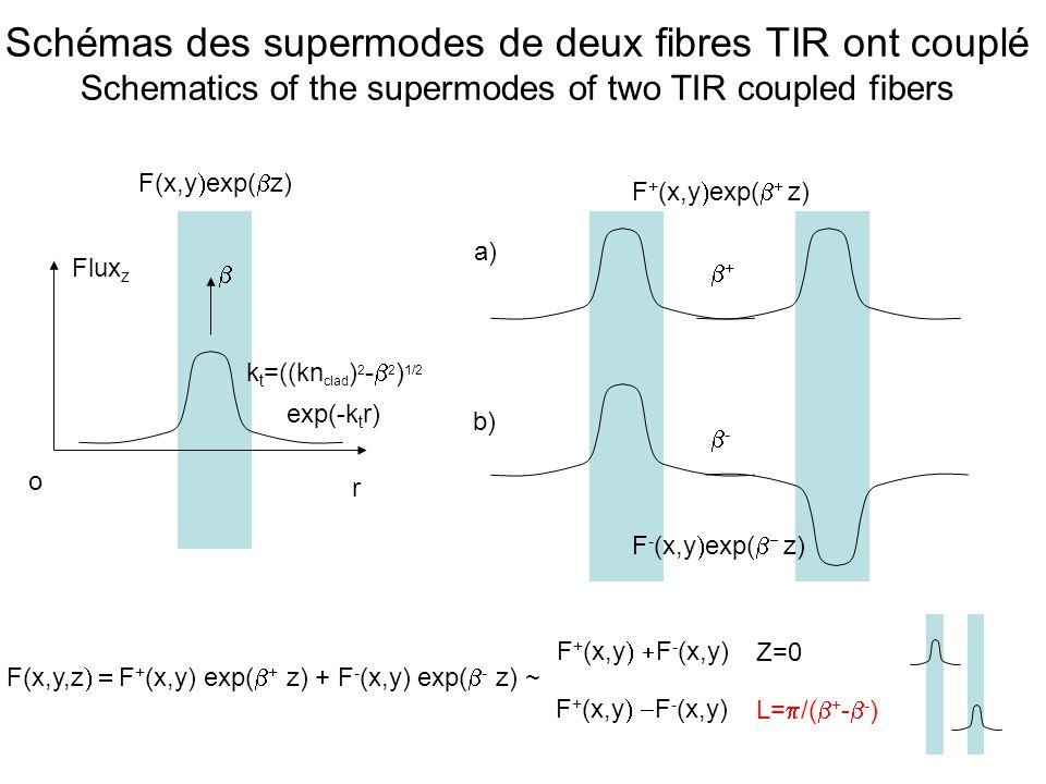 Schémas des supermodes de deux fibres TIR ont couplé Schematics of the supermodes of two TIR coupled fibers
