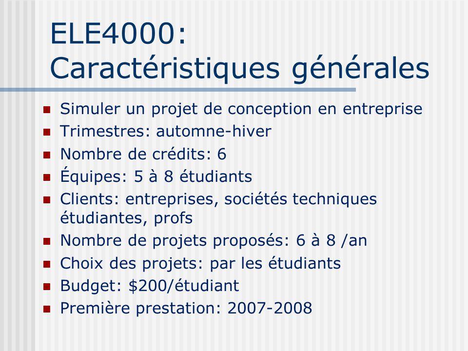 ELE4000: Caractéristiques générales