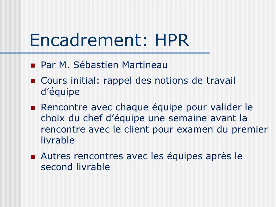 Encadrement: HPR Par M. Sébastien Martineau