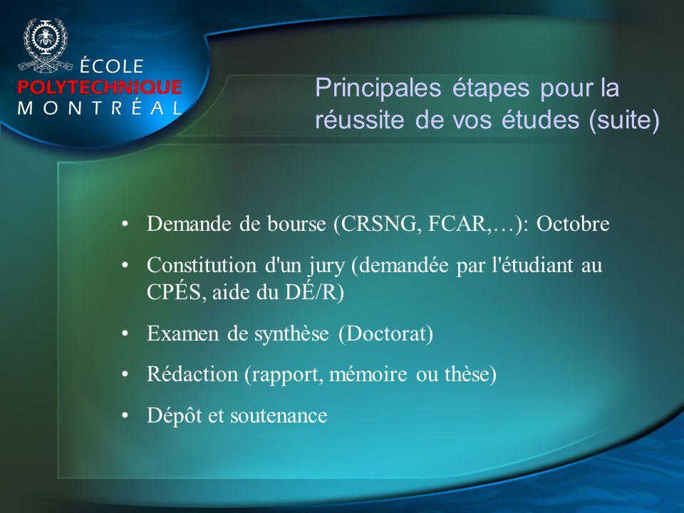 Principales étapes pour la réussite de vos études (suite)