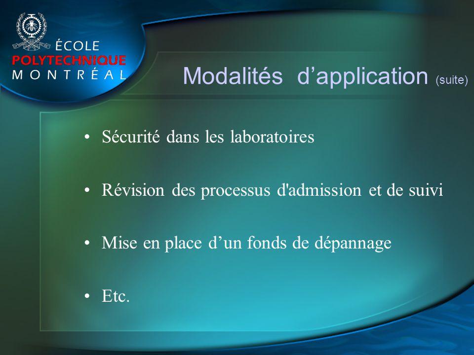 Modalités d'application (suite)