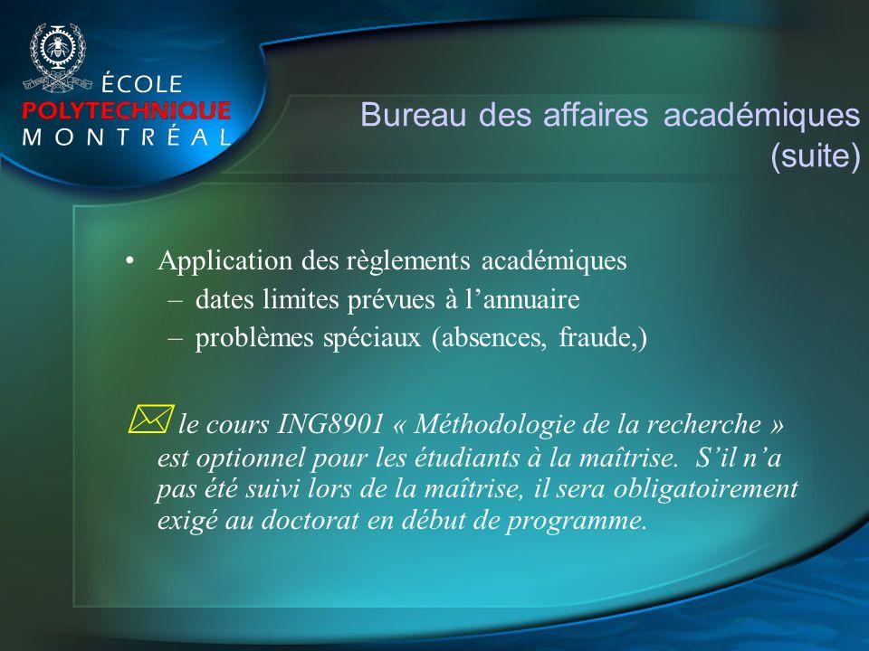 Bureau des affaires académiques (suite)