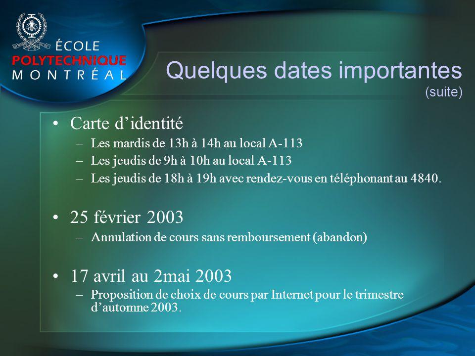 Quelques dates importantes (suite)