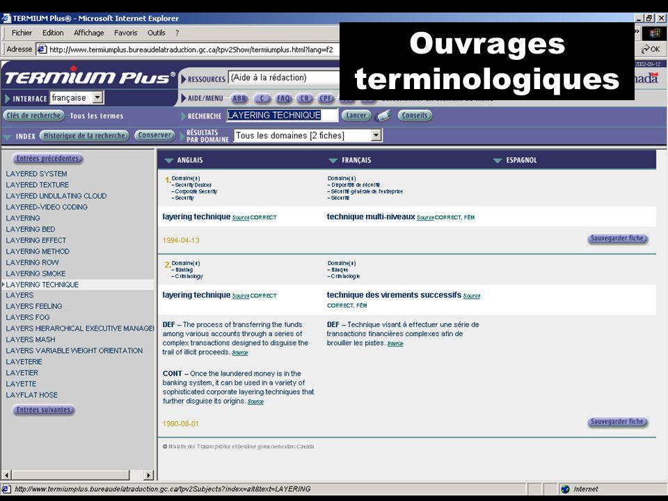 Ouvrages terminologiques