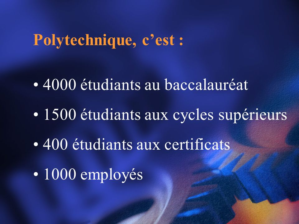 Polytechnique, c'est : 4000 étudiants au baccalauréat. 1500 étudiants aux cycles supérieurs. 400 étudiants aux certificats.