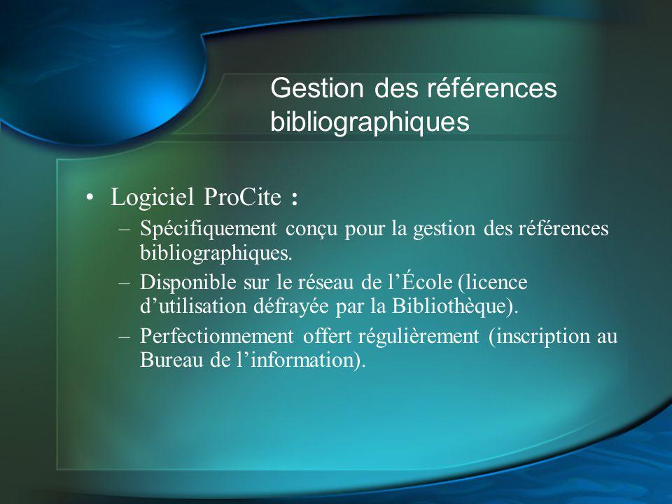 Gestion des références bibliographiques