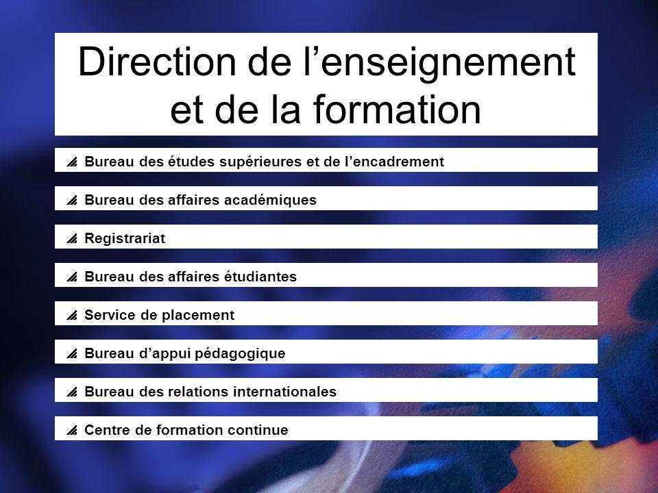 Direction de l'enseignement et de la formation