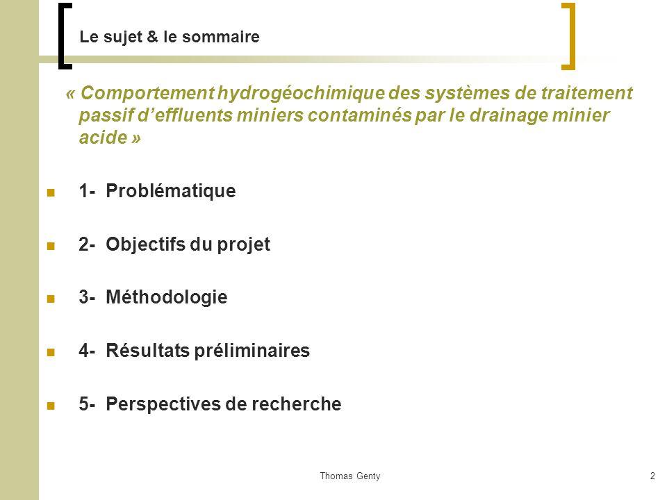 4- Résultats préliminaires 5- Perspectives de recherche