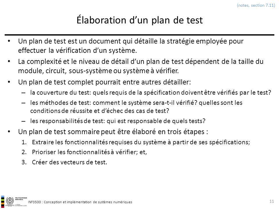 Élaboration d'un plan de test